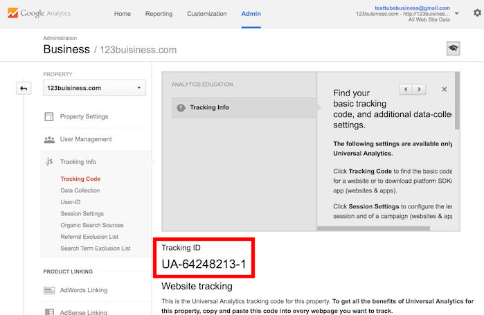 Tracking ID in the Google Analytics Console